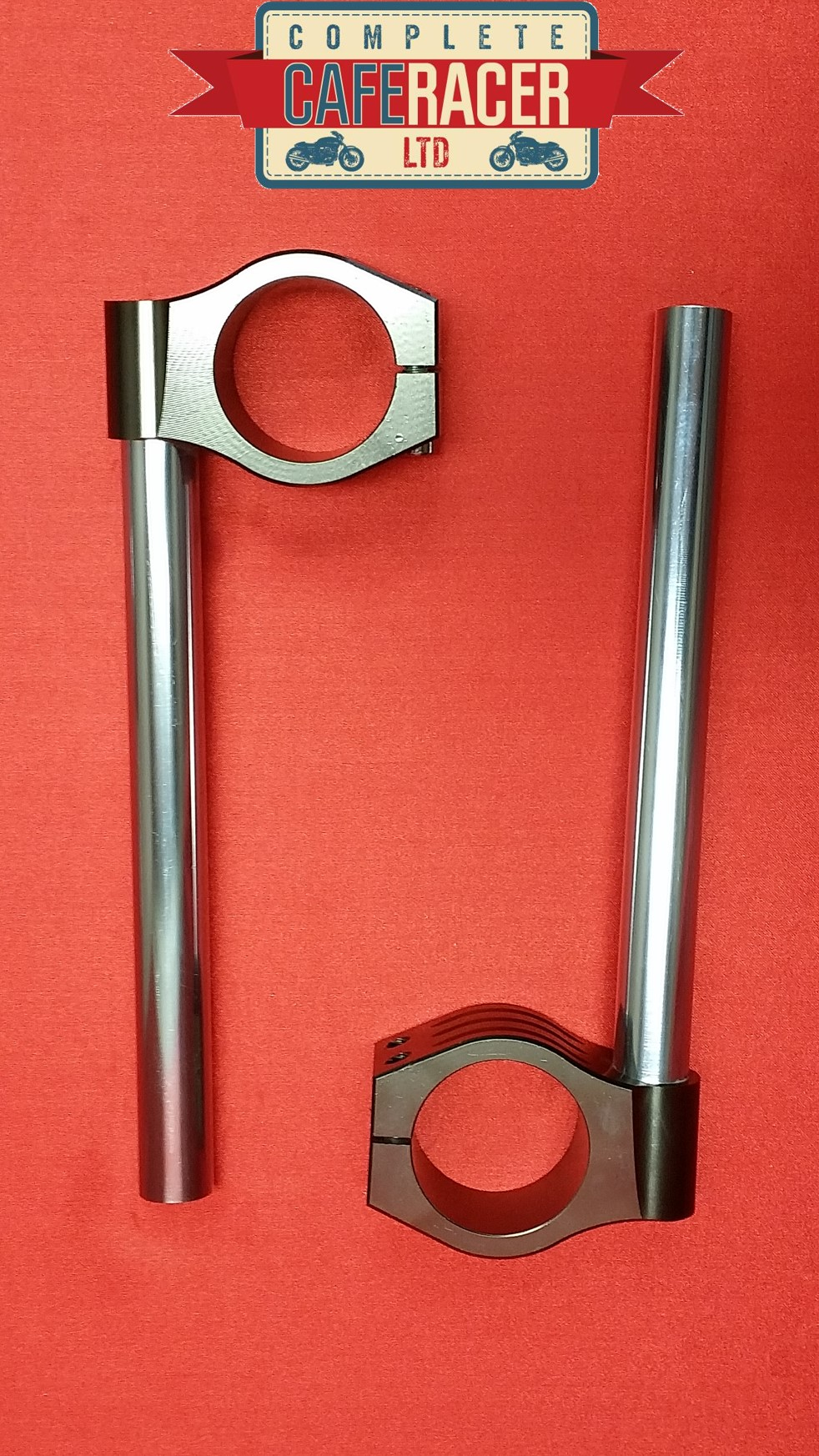 CAFE RACER CNC MACHINED ALLOY CLIP ONs TO FIT 50MM FORKS