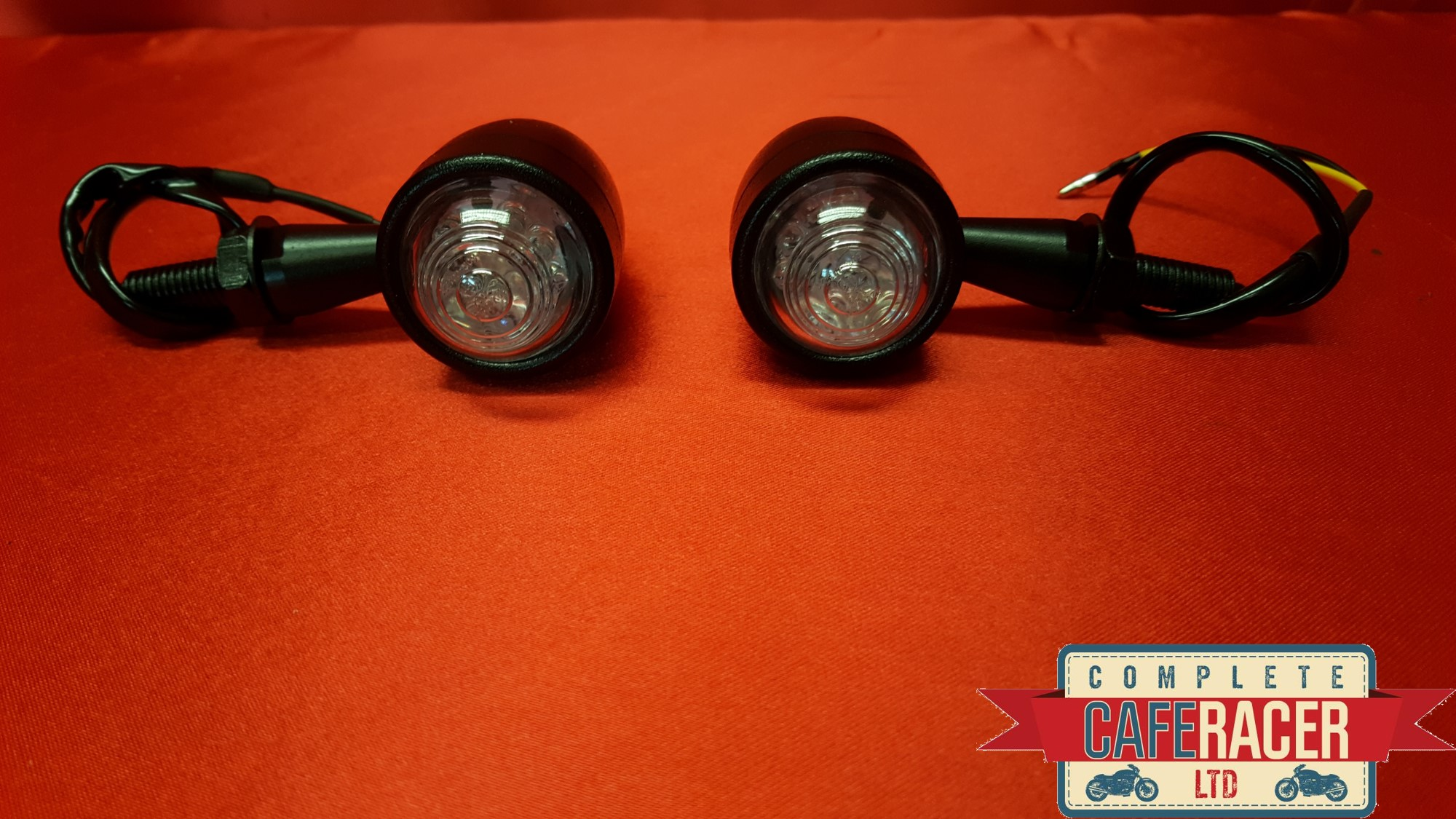 (F1) CAFE RACER INDICATOR LED MATTE BLACK METAL CASE WITH CLEAR LENSE (PAIR)