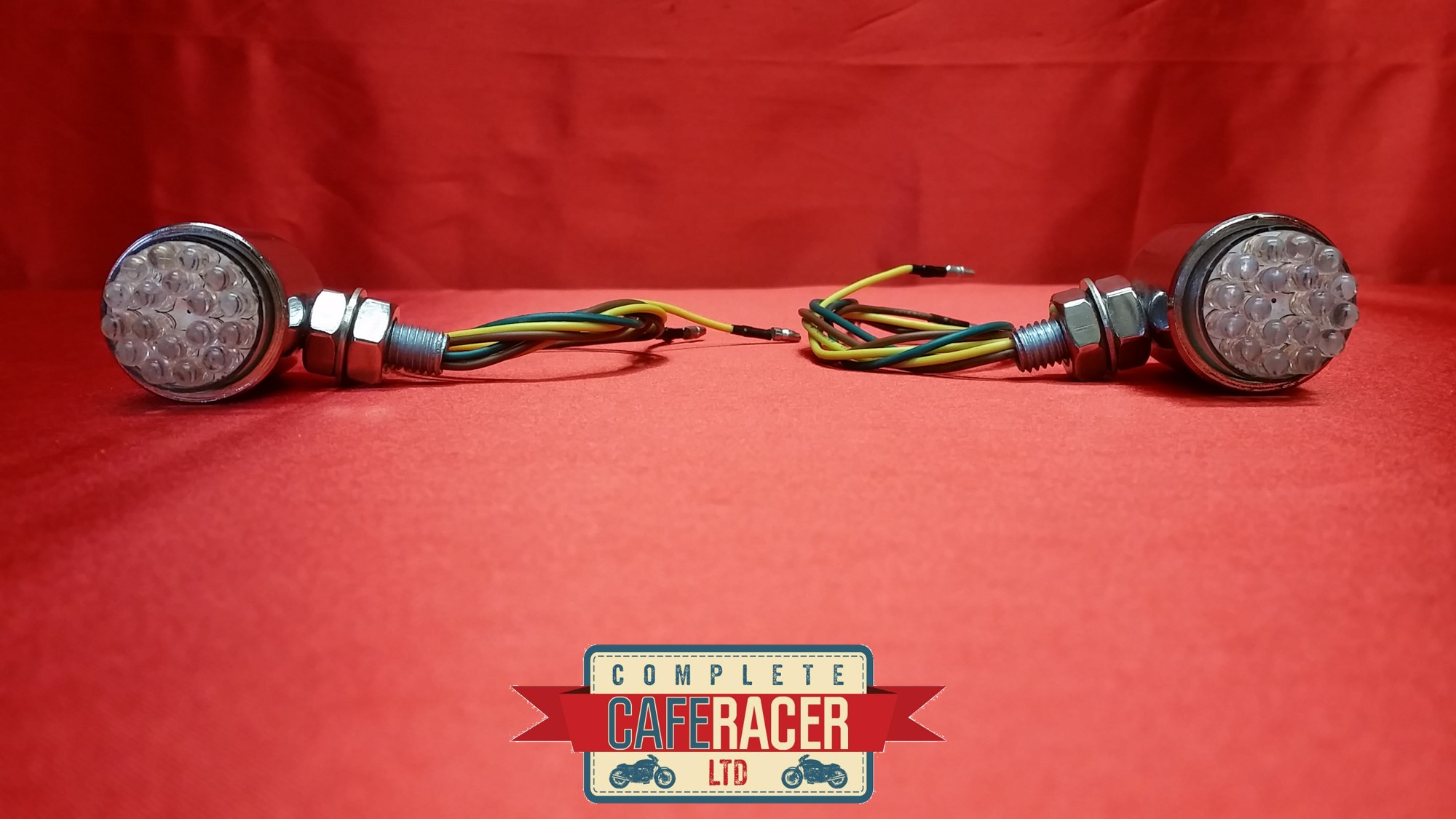 (F4) CAFE RACER LED INDICATORS CHROME METAL CASE WITH CLEAR LED LIGHTS (PAIR)