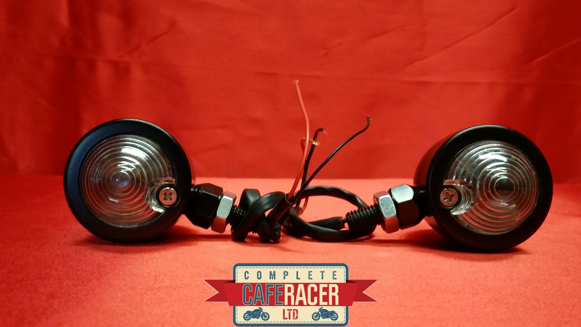 (F7b) CAFE RACER INDICATORS BLACK METAL CASE CLEAR LENSE (PAIR)
