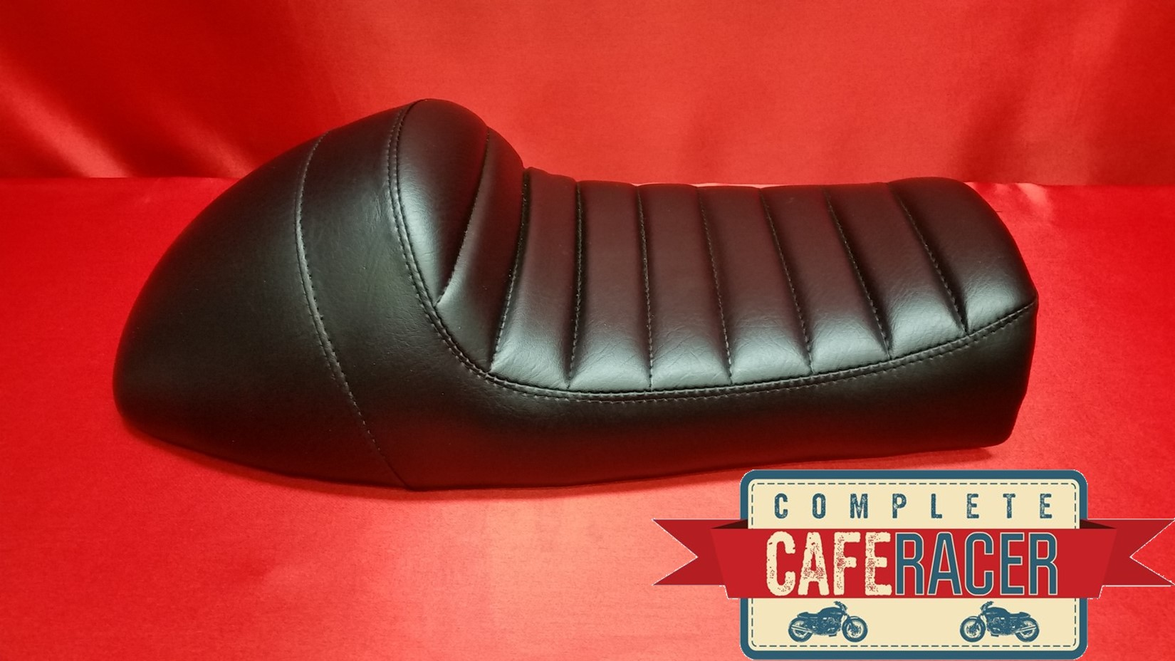 (LS7) BRAT SCRAMBLER TRACKER CAFE RACER SEAT BLACK FINISH LEATHERETTE