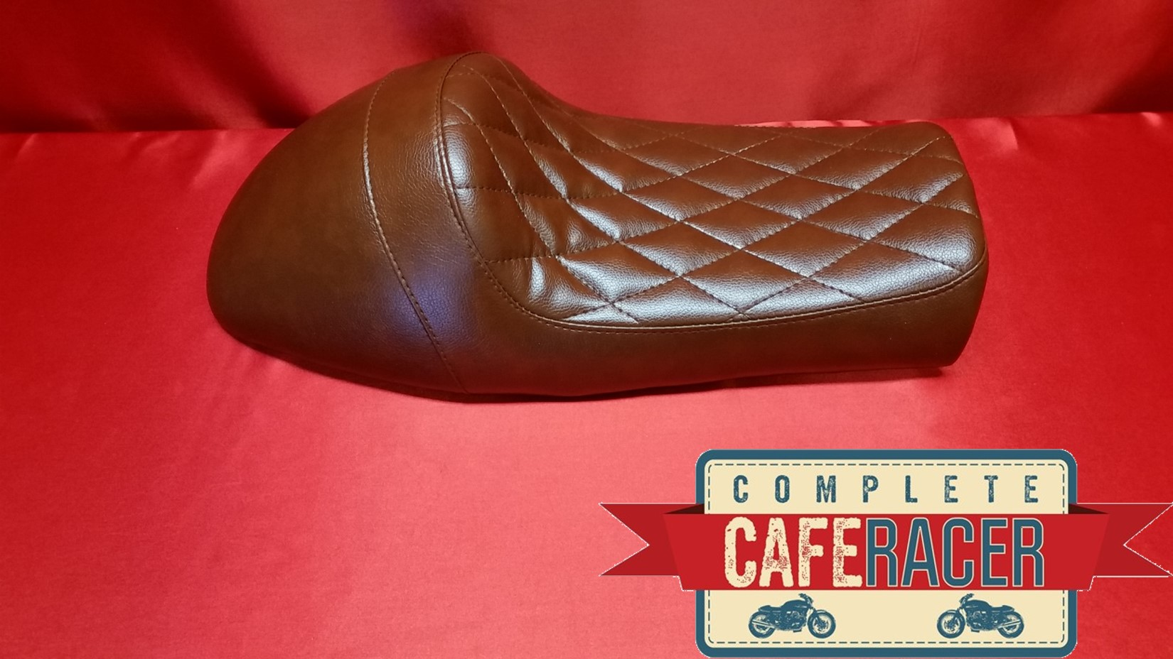 (LS18) CAFE RACER BRAT SCRAMBLER FLAT TRACKER LEATHERETTE SEAT IN BROWN DIAMOND
