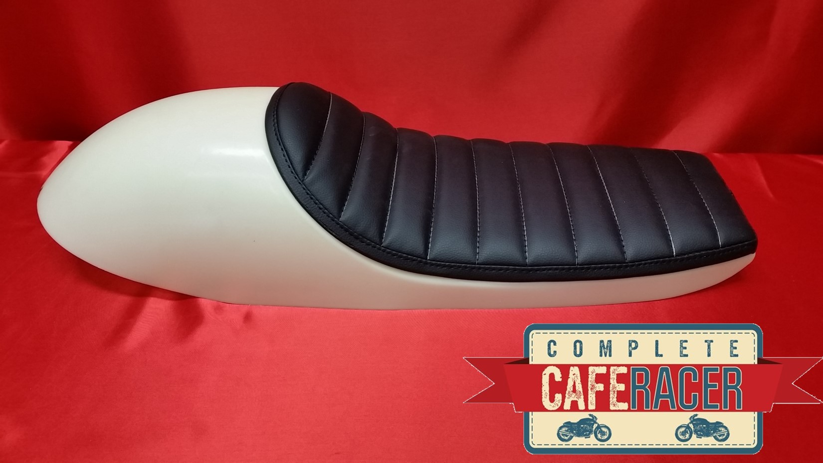 (LS8) CAFE RACER ABS MOULDED SEAT BASE WITH BOLT ON/OFF BLACK LEATHERETTE PAD