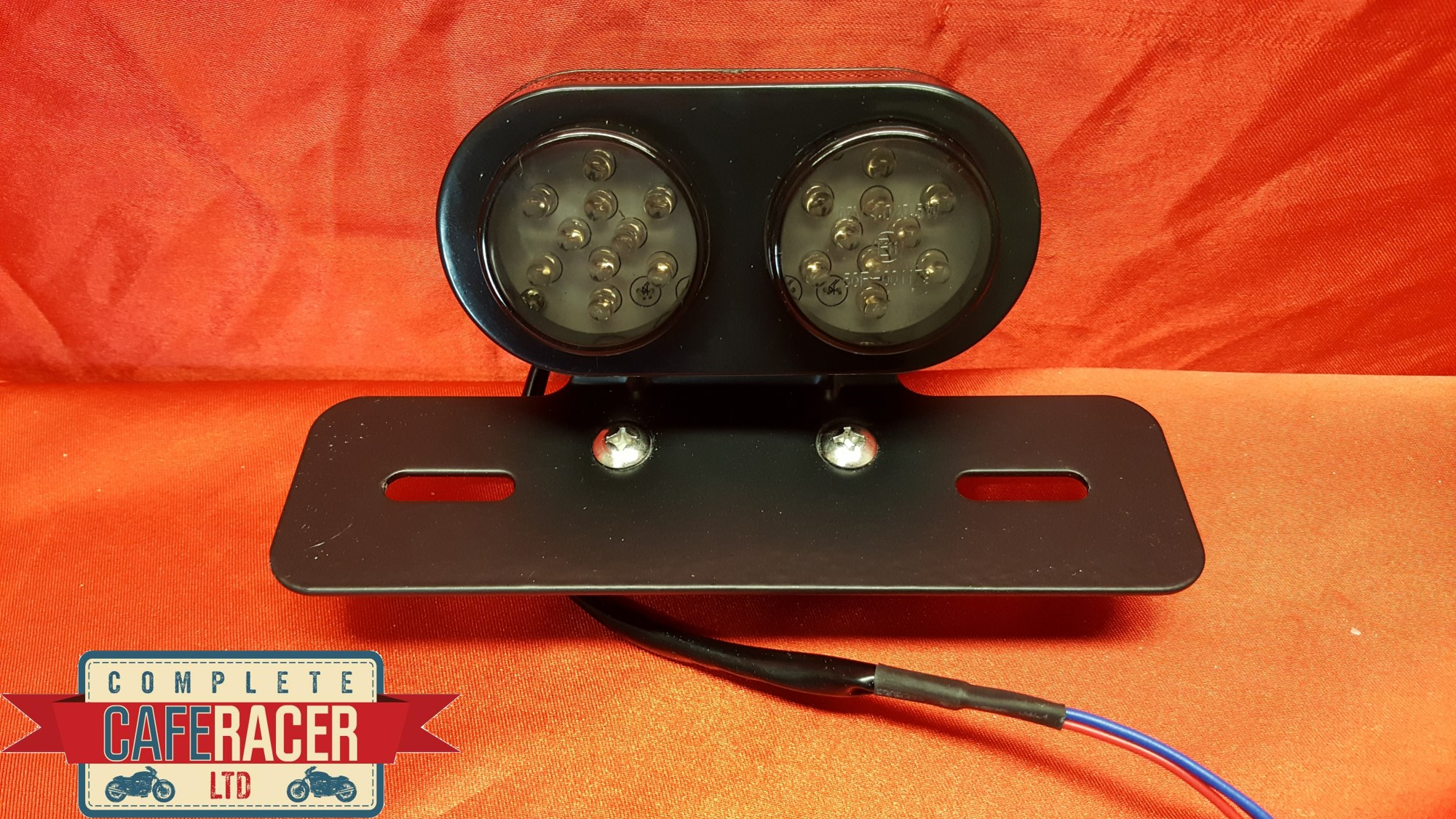 (L6b) CAFE RACER REAR TWIN ROUND SMOKED LIGHT + NUMBER PLATE BRACKET + LIGHTS