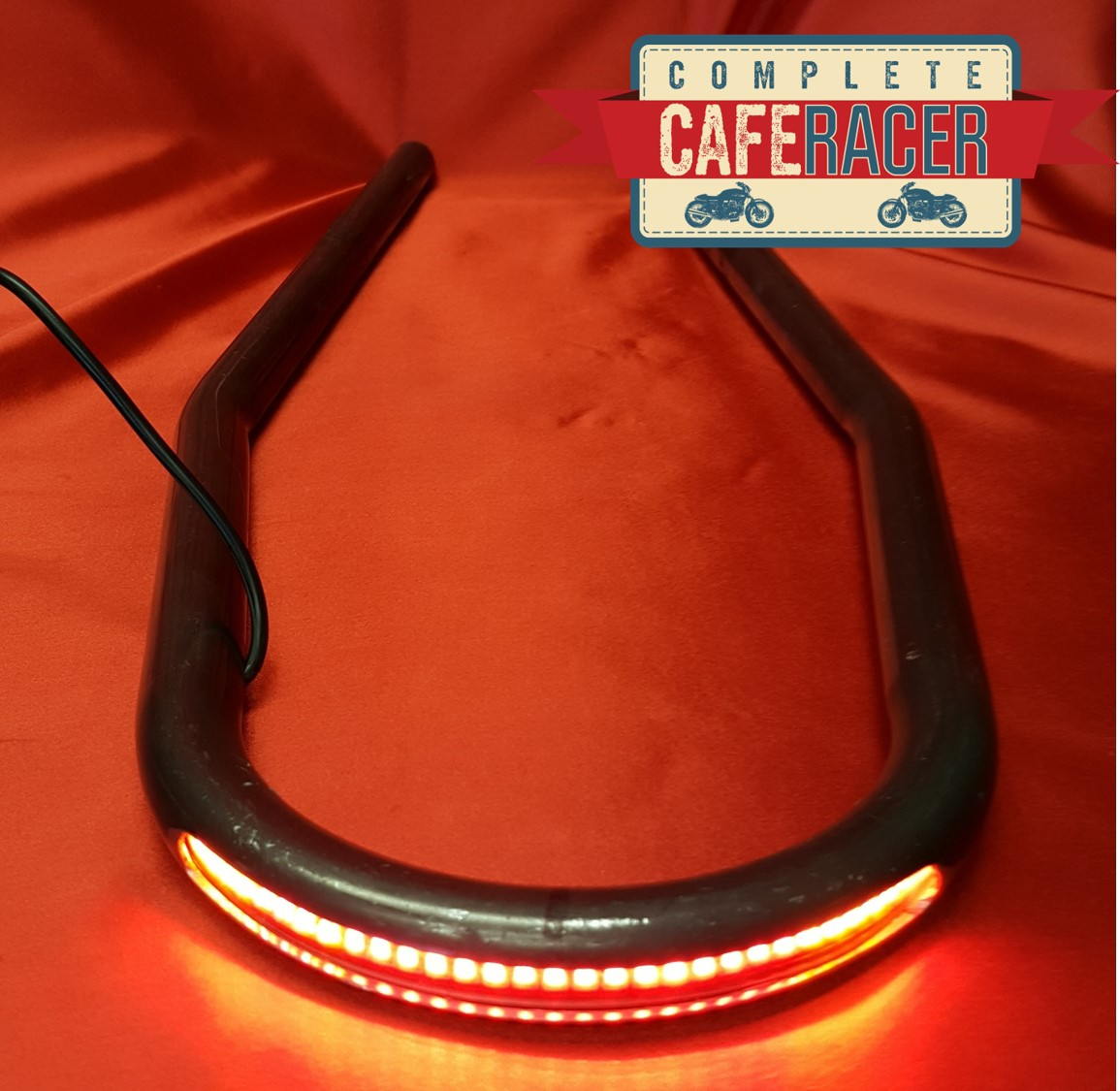 (7)CAFE RACER STEEL SEAT HOOP WITH LED STOP/TAIL LIGHTS AND INDICATORS